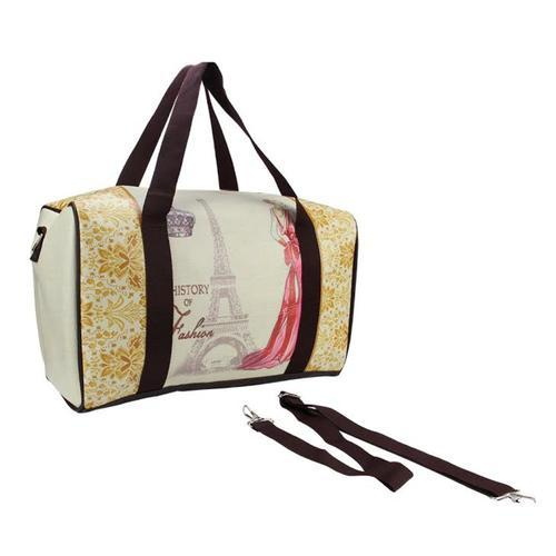 "16"" Beige Vintage-Style Eiffel Tower and French Fashion Travel Bag with Handles and Crossbody Strap"