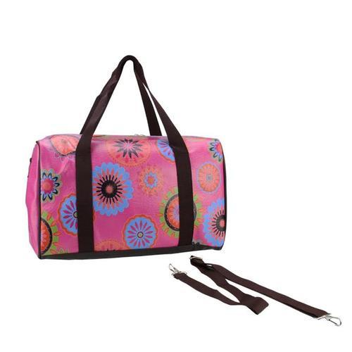 "16"" Pink Floral Theme Travel Bag with Handles and Crossbody Strap"