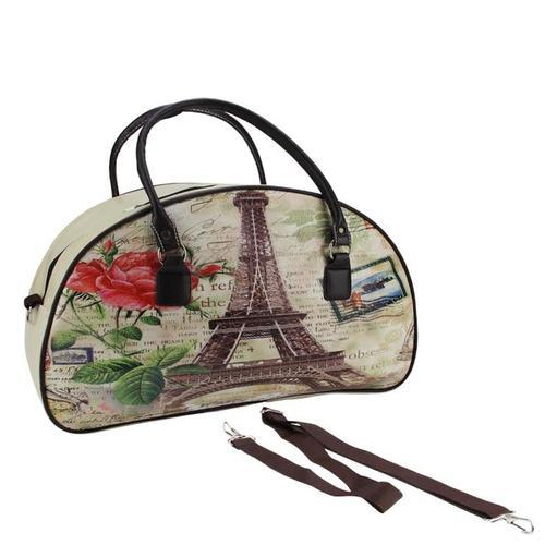 "20"" Decorative Vintage-Style Eiffel Tower French Theme Travel Bag with Handles and Shoulder Strap"
