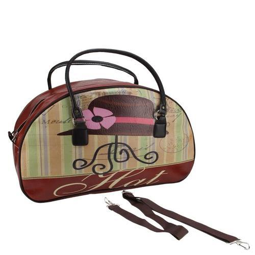 "20"" Decorative Vintage-Style Hat Theme Travel Bag with Handles and Shoulder Strap"