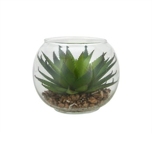 "4.5"" Decorative Artificial Green Aloe Succulent Plant in Round Glass Vase"