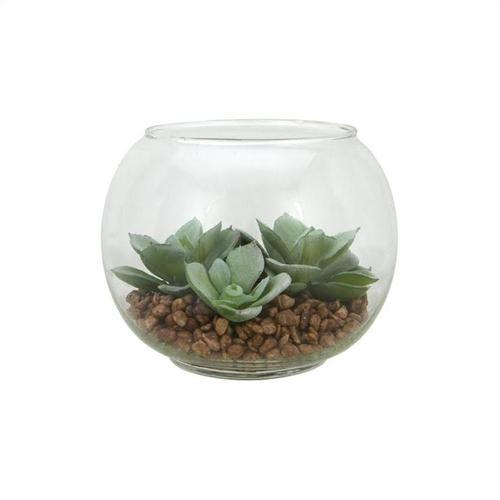 "4.5"" Decorative Artificial Green Echeveria Succulent Plant in Clear Round Glass Vase"