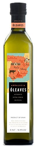 O'LEAVES Andalusia - Award Winning Spanish Cold Pressed Extra Virgin Olive Oil, 2016 Harvest 17 Ounce Glass Bottle