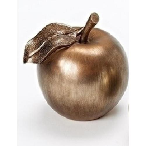 "5"" Distressed Silver and Bronze Apple with Accented Glittered Leaf Christmas Table Decoration"