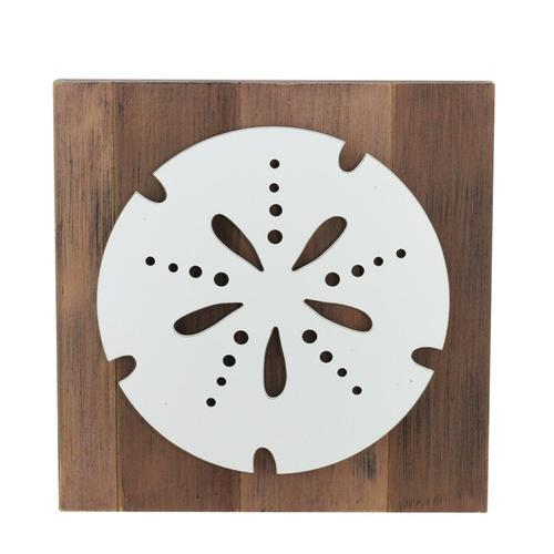 "15.75"" White Sand Dollar on Rustic Brown Background Decorative Wall Plaque"