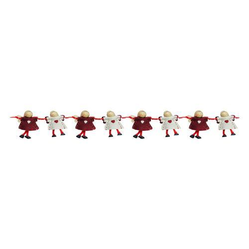 "26"" Decorative Plush Red and Beige Joined Hands Angel Dolls Christmas Garland - Unlit"