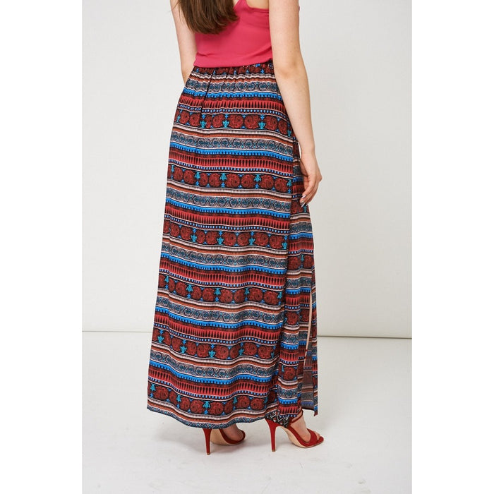 Abstract Pattern Split Front Maxi Skirt Ex-Branded