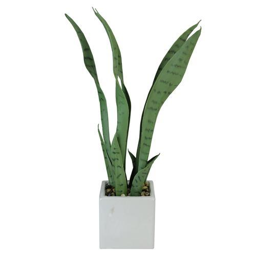"21"" Artificial Succulent Plant in Decorative White Ceramic Square Pot"