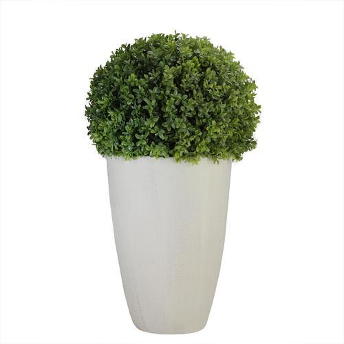 "27"" Artificial Boxwood Plant in Decorative Stone Look Ceramic Pot"