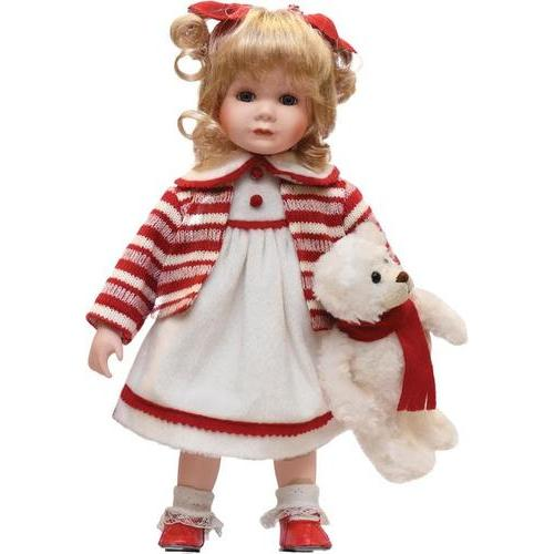 "14"" Porcelain ""Amanda"" with Teddy Bear Standing Collectible Christmas Doll"