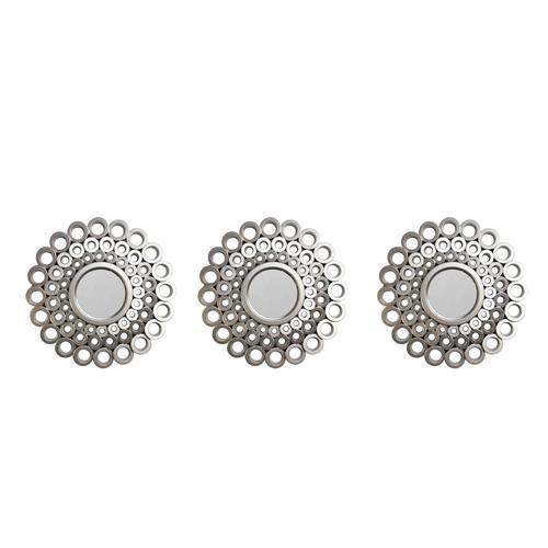 Set of 3 Cascading Angular Orbs Matte Pewter Gray Decorative Round Mirrors 9.5""