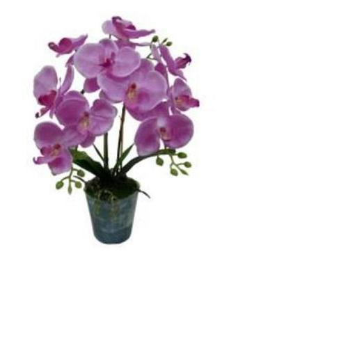 "20"" Artificial Blooming Pink Phaleanopsis Orchid Flower Decorative Potted Plant"