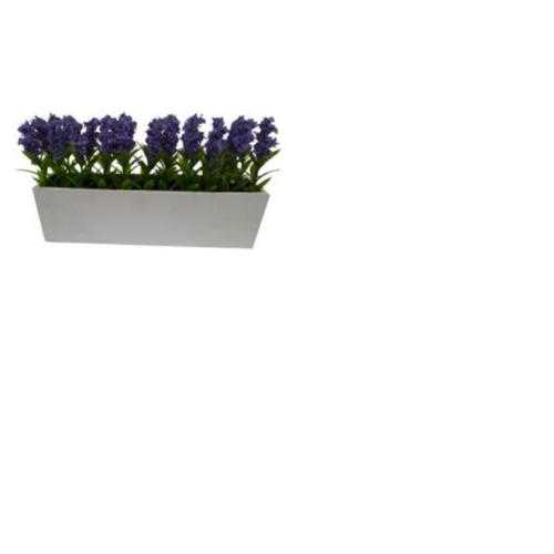 "4"" Artificial Purple Flowering Lavender Plant Decoration in a White Window Box"