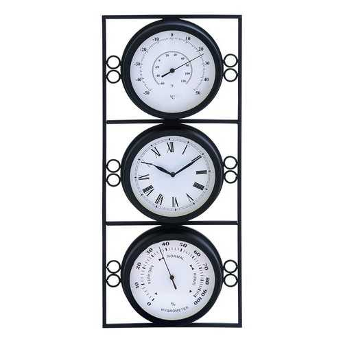 Contemporary Metal Clock With Two Thermometer & Minimal Style