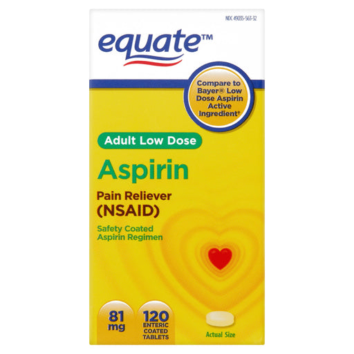 Equate Low Dose Aspirin Enteric Coated Tablets, 81 mg, 120 Ct