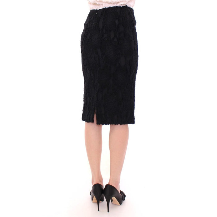 Andrea Incontri Black Silk Straight Knee-length Pencil Skirt