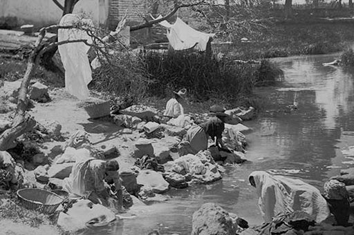Washing Clothing at Hot Springs in Mexico (Canvas Art)