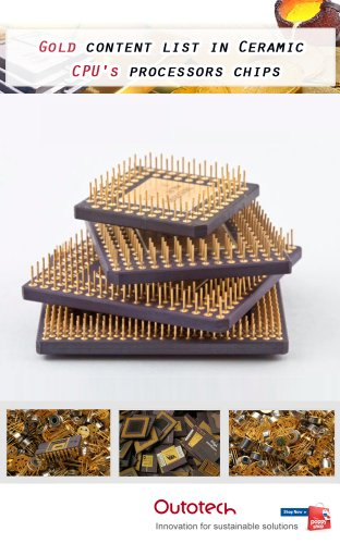 Gold content list in Ceramic CPU's processors chips
