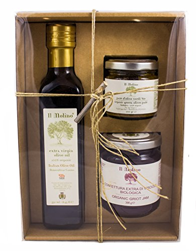 Il Molino Organic Italian Gift Box with Wild Cherry Jam, Olives Tapenade and Extra Virgin Olive Oil