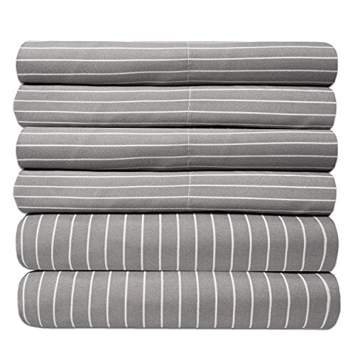 6 Piece 1500 Thread Count Egyptian Quality Deep Pocket Bed Sheet Set - 2 EXTRA PILLOW CASES, GREAT VALUE - Queen, Gray