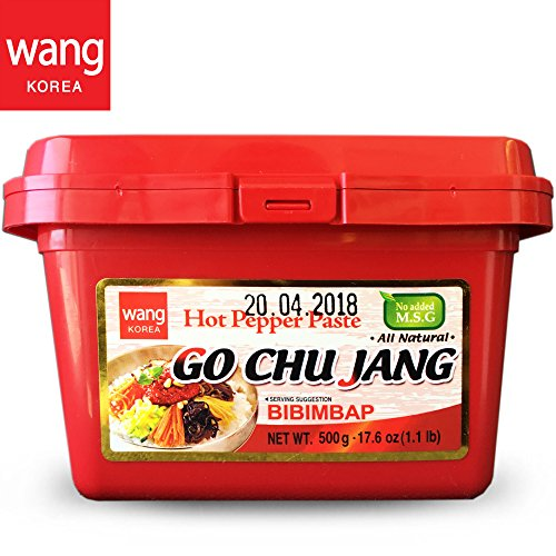 "Hot Red Chili Pepper Paste, Korean Traditional Essential Seasoning Sauce ""Go Chu Jang"", gochujang [Wang Food], Cholesterol Free Fat Free All Natural No MSG Added, 17.6 oz..."