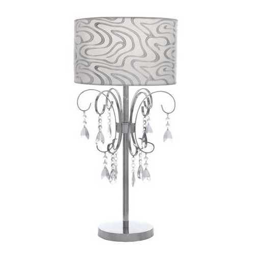 Venica Table Lamp With Chic Printed Lampshade And Beaded Tassels