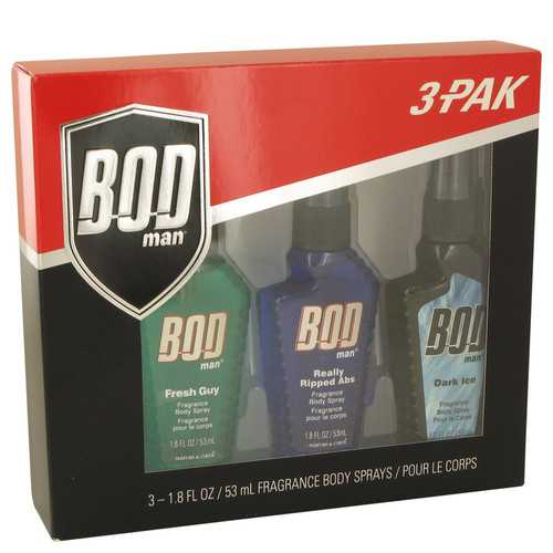 Bod Man Dark Ice by Parfums De Coeur Gift Set -- BOD MAN Gift Set-Fresh GuyBod Man Set Includes Fresh Guy Really Ripped Abs and Dark Ice all in 1.5 oz Body Sprays PDC10/24/2017 (Men)