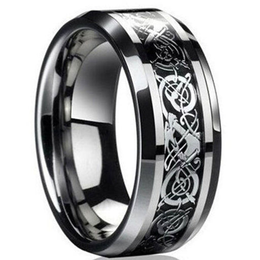 Fashion Men's Silver Celtic Dragon Titanium Stainless Steel Wedding Band Rings