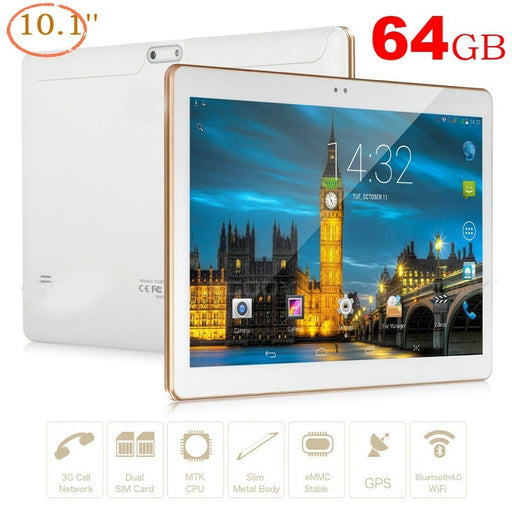 10.1 inch Tablet PC 4GB ram 64GB rom IPS 2560*1300 3G 4G Dual SIM Android 13MP+8MP Bluetooth Camera