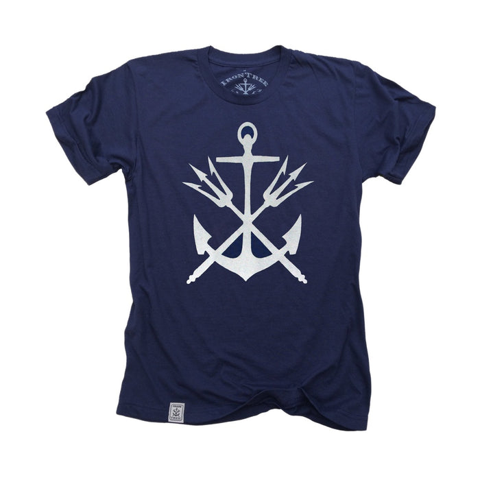 Anchor & Tridents: Fine Jersey Short Sleeve T-Shirt in Navy
