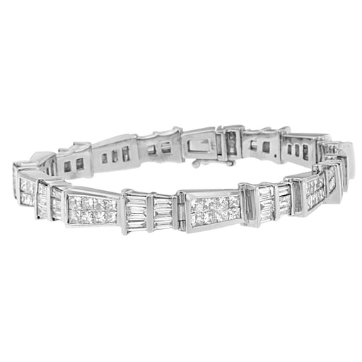 14K White Gold 8 3/8ct. TDW Princess and Baguette Cut Diamond Geo-Link Bracelet (G-H,VS1-VS2)
