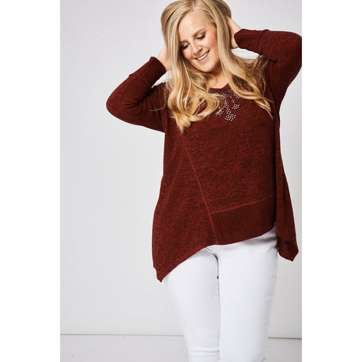 Burgundy Stud and Diamante Jumper