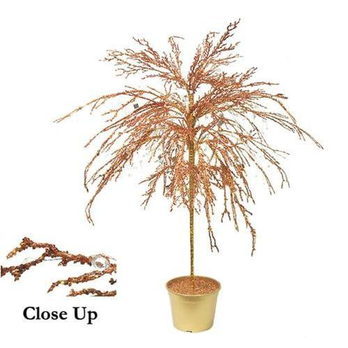 "46"" Copper Crystallized Glitter Potted Holiday Tree - Mirrors & Beads"