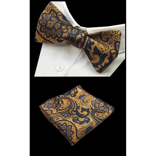 Paisley Floral 100% Silk  Bow Ties And Handkerchief Set