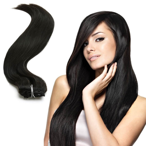 "Aphrodite Brazilian Hair Clip in Full Head Hair Extensions Natural Untreated 18"" Full Head"
