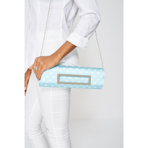 Baby Blue Square Front Heart Print Clutch Bag