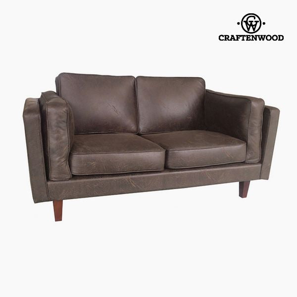 2-Seater Sofa Pine Polyskin Brown (165 x 92 x 80 cm) by Craftenwood