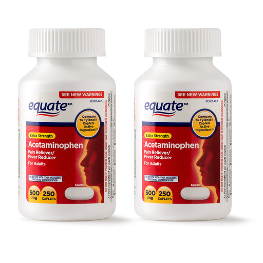 Equate Extra Strength Acetaminophen Caplets, 500 mg, 250 Ct, 2 Pk