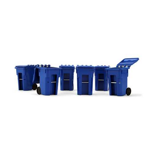 Set of 6 Blue Garbage Trash Bin Containers Replica 1/34 by First Gear