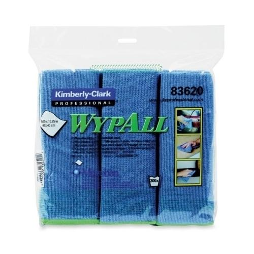 "Kimberly-Clark Microfiber Cloths,Bathroom/Fixtures,15-3/4""x15-3/4"",6/PK,BE"