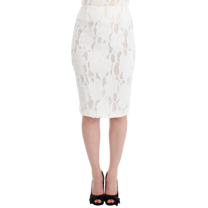 Andrea Incontri White Silk Straight Knee-length Pencil Skirt