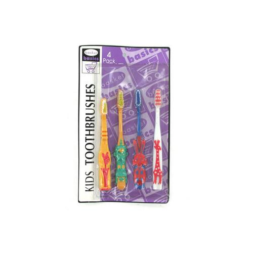 Animal kid's toothbrushes pack of 4 ( Case of 72 )