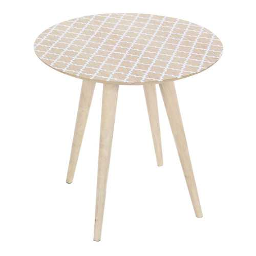 Decoratively Patterned Wood Accent Table