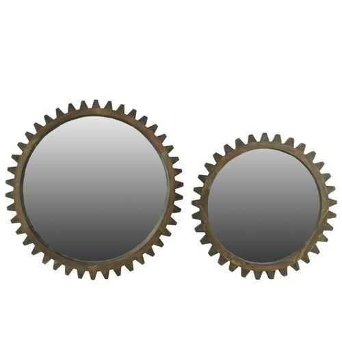 Wooden Wall Mirror With Gear Inspired Frame Set Of Two