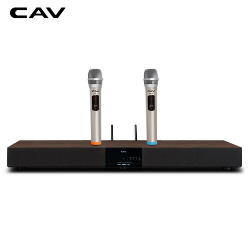 CAV TM12K Soundbar Column With Microphones Wireless Bluetooth Optical Fiber Coaxial Simulation Wood Sound Bar Column Speakers