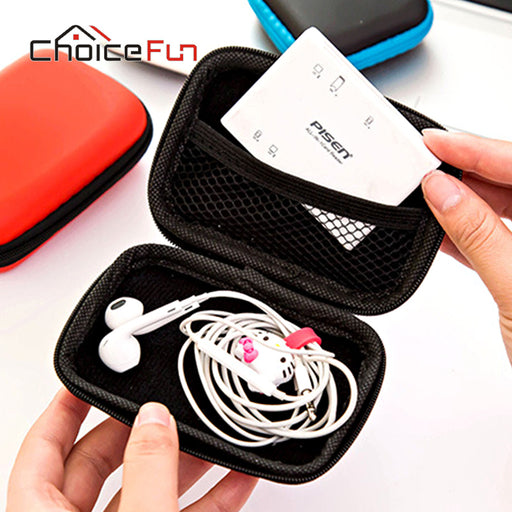 CHOICE FUN Headphone Case Bag Portable Earphone Earbuds Hard Box Storage for Memory Card USB Cable Organizer Mini Earphone Bag