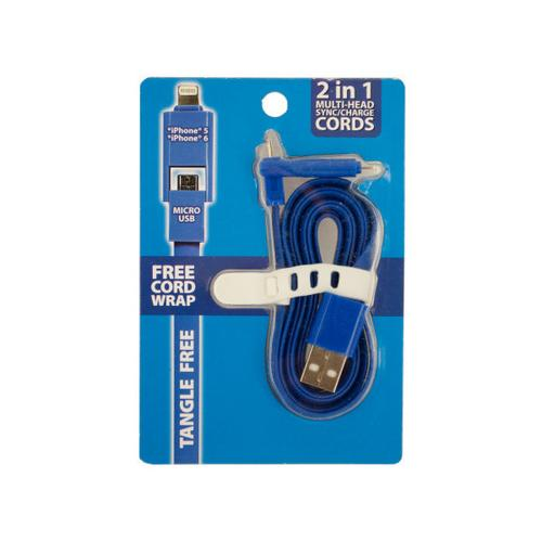 2 in 1 Multi-Head iPhone Sync/Charge Cord ( Case of 10 )