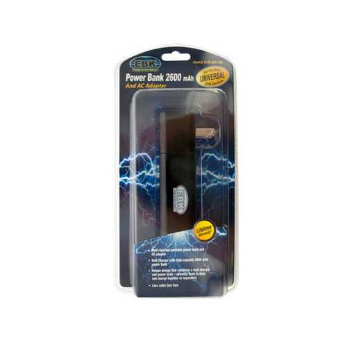 Black 2600 mAh Power Bank & Wall Charger ( Case of 12 )