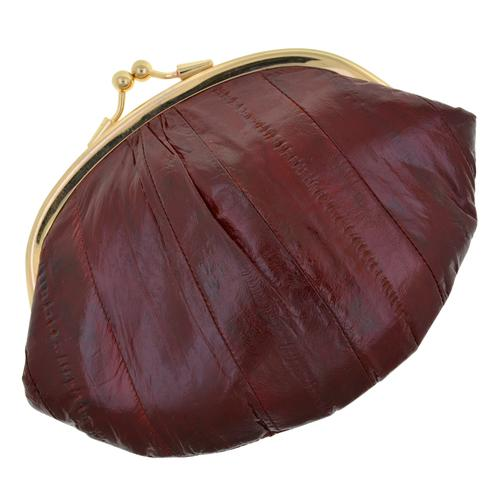 AFONiE-Deep Wine Color Genuine Eel Skin Wallet