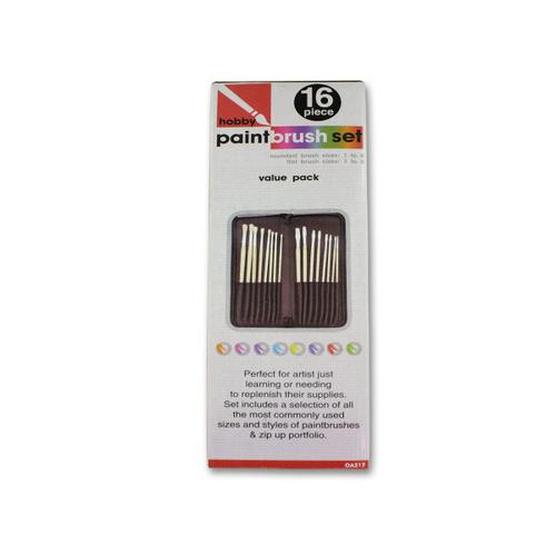16 Piece hobby paint brush set with case ( Case of 2 )